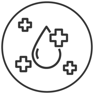 Icon of a water droplet surrounded by health pluses