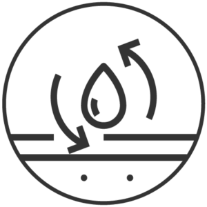 icon of a water droplet with arrow circling around it.