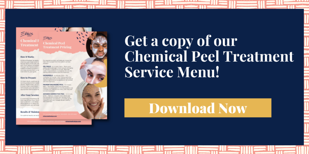 Click here to download the chemical peel treatment service menu.